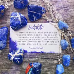 Sodalite Tumbled Pocket Stone — Rocks with Sass Chakra Crystals, Crystals And Gemstones, Stones And Crystals, Gem Stones, Crystal Healing Stones, Crystal Magic, Meditation Crystals, Crystal Meanings, Rocks And Gems