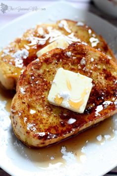 Eggnog French Toast! Super easy.  Super festive.  Super delicious.  Perfect for a stress-free Christmas morning breakfast!  From TheGraciousWife.com