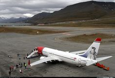 Arrival from Oslo at 01:45AM. LYR is the worlds northernmost airport with scheduled flights.