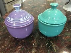 My Fiesta Lilac and Turquoise Jumbo Bowls with Teapot lids