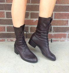 vtg 80s BROWN lace up BOOTS riding 9 leather boho preppy
