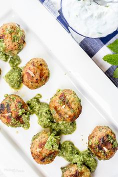 Easy authentic Greek Turkey Meatballs with Cucumber Mint Sauce. Juicy grilled turkey meatballs are healthy appetizer. Paired with homemade tzatziki. Gluten Free Appetizers, Healthy Appetizers, Appetizer Recipes, Healthy Meals, Dinner Recipes, Savoury Recipes, Healthy Recipes, Healthy Cooking, Cocktail Recipes