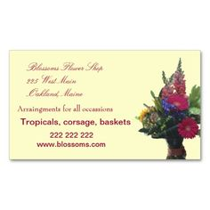 Business Card ~ Flower Shop Promote your flower shop with attractive, unique business cards.  www.zazzle.com/whitewaves3*/