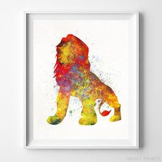 Mufasa, Lion King Disney Watercolor Wall Art Poster - Prices from $9.95 - Click Photo for Details - #disney #watercolor #babyroom #christmasgifts #disneyart #TheLionKing #Mufasa
