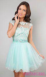 Buy Short Cap Sleeve Lace Embellished Dress at PromGirl