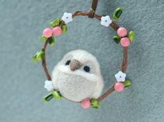 Needle felted owl on wreath ornament, handmade owl ornament / charm, pink berries with flower wreath, handbag charm, gift under 20