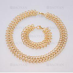 juego collar y brazalete de estilo moda especial en acero dorado inoxidable -SSNEG504017