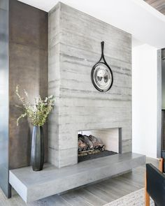 "Denise Bosley Interiors on Instagram: ""Board formed concrete and steel fireplace at the La Canada house. Design collaboration with @scribe.studio 📷 @ryangarvin"" Cottage Fireplace, Home Fireplace, Fireplace Remodel, Living Room With Fireplace, Fireplace Design, Fireplaces, Fireplace Ideas, Brick Fireplace Makeover, Shiplap Fireplace"