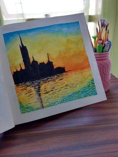 Recreación de la pintura Venecia de Claude Monet #watercolor