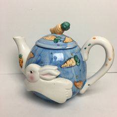 WCL Hand Painted Whimsical Teapot 3D Bunny and Carrots - Country Kitchen Teapot = Easter Teapot Tea Pot - Animal Teapot