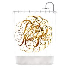 East Urban Home Black is the New Gold by Roberlan Metallic Typography Shower Curtain