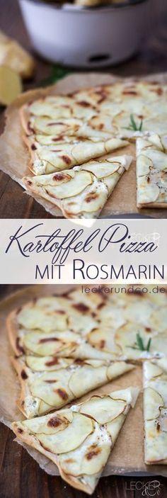 Kartoffelpizza mit Schmand und Rosmarin