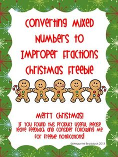 This is a worksheet about converting mixed numbers to improper fractions, perfect for those busy days before Christmas break! Once students convert the mixed numbers to fractions, they match the corresponding letter to the fraction below. 4th Grade Fractions, Grade 6 Math, Improper Fractions, Fourth Grade Math, Math Lesson Plans, Math Lessons, Teaching Math, Teaching Fractions, Teaching Ideas