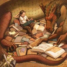 Always curl up with your dragon.  He likes to read, too!
