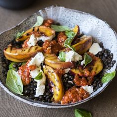 Grilled Nectarine and Lentil Salad served with Red Pepper Pesto makes the most of beautiful stone fruit in a substantial salad.