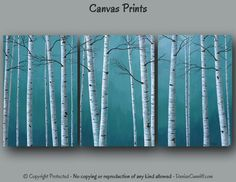 Ready to hang, Canvas wall art, Multi panel, Birch tree painting PRINT set large, Teal blue home decor, Bedroom, Office artwork, Dining room