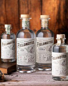 Fieldnotes (La Crosse Distilling) Spirits Packaging on Behance Beverage Packaging, Bottle Packaging, Brand Packaging, Vintage Packaging, Vintage Labels, Vodka, Label Design, Branding Design, Package Design