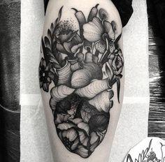 Flowers-Human-Heart-Tattoo-On-Leg-Calf-by-Kelly-Violet.jpg (640×630)