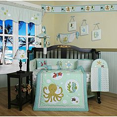 @Overstock - Dress up and decorate your baby's room with this beautiful 13-piece crib bedding set. This set includes a quilt, two valances, skirt, crib sheet, bumper, diaper stacker, toy bag, two pillows and three wall hangings. ....Maybe for a baby boy?