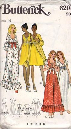 Butterick 6205 such a cute Butterick nightie and robe pattern Vintage Sewing Patterns, Clothing Patterns, Dress Patterns, Maternity Patterns, Patchwork Dress, Boho, Pattern Fashion, Night Gown, Vintage Dresses