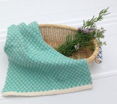 Turquoise Handwoven Twill Towel by PenelopesRevelry on Etsy, $22.00
