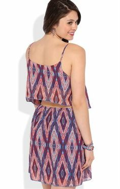 Deb Shops A-Line Dress with Diamond Tribal Print and Ruffle Bodice $26.25