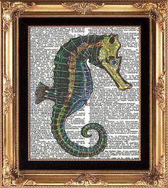 SEAHORSE - Vintage Dictionary Print BeautifuL Antique Seahorse Image Aqua Blue Ocean Sea Nature Natural Science Picture