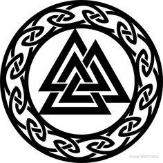'Valknut Odin Warrior Symbol Vikings' Sticker by Anne Mathiasz – Norse Mythology-Vikings-Tattoo Warrior Symbol Tattoo, Viking Warrior Tattoos, Warrior Symbols, Viking Tattoo Symbol, Norse Tattoo, Viking Symbols, Viking Runes, Celtic Tattoos, Maori Tattoos