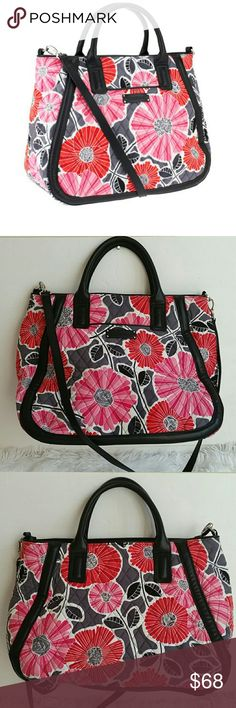 """Vera Bradley Signature Print Trapeze Tote Preown. In great condition.  Has a small stain in front. On the bottom. Not noticable. Color cherry blossom. Cute for diaper bag or just a everyday  bag. Measures approximately 18""""W x 12""""H x 6-1/4""""D with a 5"""" handle drop and a 21-1/2"""" strap drop; weighs approximately 1 lb, 8 oz Face/lining 100% cotton; fill/trim 100% polyurethane Vera Bradley Bags Totes"""