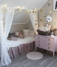 47 Modern Kids Room Design Ideas Thah Built In Beds - Each and every room of your home is undoubtedly very important and needs special care and attention in its decoration. But when it comes to your kids . Baby Bedroom, Girls Bedroom, Bedroom Decor Kids, Bedroom Ideas, Slanted Ceiling Bedroom, Built In Bed, Kids Room Organization, Kids Room Design, Little Girl Rooms