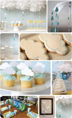 April Showers bring May Flowers :) Weather and Rainbow Baby Shower Ideas from Mullen. Such a fun theme and some very cute baby shower decor - pom pom clouds with raindrops, cloud toppers on straws and cupcakes, adorable cloud cookies and so much more! Babyshower Party, Baby Party, Baby Shower Parties, Baby Shower Themes, Shower Ideas, Cloud Baby Shower Theme, Raindrop Baby Shower, Umbrella Baby Shower, Fiesta Baby Shower