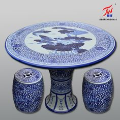Jingdezhen ceramic blue and white porcelain stool table set patio furniture leisure desk chairs goldfish Lotus