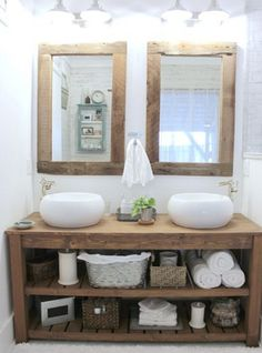 rustic master bathroom - the space between rustic bathroom vanity and mirrors - so many great details that feel like fall Rustic Master Bathroom, Rustic Bathroom Vanities, Rustic Bathrooms, Wood Bathroom, Bathroom Furniture, Diy Furniture, Bathroom Ideas, Rustic Vanity, Design Bathroom