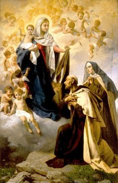 Christ Our Lady with the Brown Scapular and Carmelite Saints Catholic Prayers, Catholic Art, Catholic Saints, Religious Art, Roman Catholic, Blessed Mother Mary, Blessed Virgin Mary, La Salette, Lady Of Mount Carmel