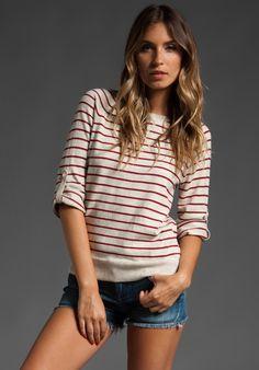 Autumn Cashmere, Striped Tab Sleeve Sweatshirt in Hemp/Rhubarb, $138.