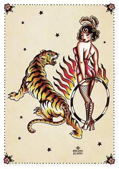 Tiger Tiger by Susana Alonso Pin-Up Girl Tattoo Canvas Art Print