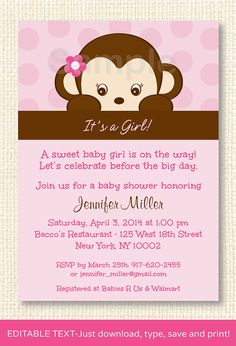 Girl Monkey Baby Shower Invitation EDITABLE by LittlePrintsParties, $10.00 Baby Shower Niño, Baby Shower Invites For Girl, Baby Shower Invitations, Monkey Invitations, Monkey Girl, Monkey Baby, Mod Monkey, Print Your Own Invitations, Printable Invitations