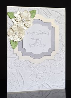 Handmade Elegant Wedding Card with 3D White Flowers-Congratulations On You Special Day Wedding Card by TreasureIslandCards on Etsy
