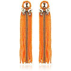 SHOP Begada Orange Sheen Tasseled Earrings ($165) ❤ liked on Polyvore featuring jewelry, earrings, orange jewelry, bead jewellery, orange earrings, beaded tassel earrings and beading jewelry
