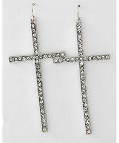 368417 Rhodiumized / Clear Rhinestone / Lead&nickel Compliant / Cross Dangle / Fish Hook Earring Set