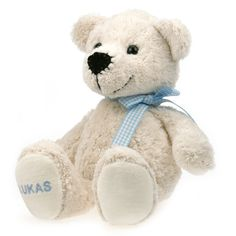 Baumwollteddy Bommel individuell bestickt #Teddy #Kuscheltier #bestickt #personalisiert #Geschenkidee