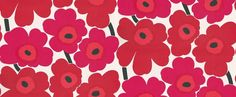 Unikko (13071) - Marimekko Wallpapers - The splashy floral design is Marimekko's signature pattern. Fabulously bright and fresh, red and cerise blooms sit on a white background punctuated with black centres and stalks. Order sample for true colour match. Wide width, paste the wall wallcovering.