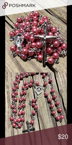 Handmade Rosary Handmade rosary, pearl glass beads, 20 gauge wire and 6mm beads. Excellent quality and craftsmanship. Color is pink Jewelry Necklaces