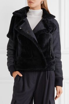 Midnight-blue shearling Concealed button fastenings through double-breasted front 100% shearling (Sheep); trim: 90% acrylic, 10% elastane Specialist clean Imported