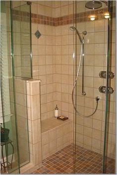 Small doorless walk in shower image by callaloo_photos on Photobucket Master Bedroom Bathroom, Bathroom Renos, Basement Bathroom, Bathroom Renovations, Basement Remodeling, Basement Ideas, Crystals In The Home, Bath Remodel, Bath Ideas