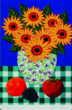 """Sunflowers"" (unframed: 10 x 7 inches) US$29 by Joanne Netting, available wholesale, worldwide (free shipping), from the artist; email: mailto:jnetting2@... This is a limited edition signed mini print reproduced from an original acrylic on canvas painting.  © Joanne Netting 1993. #art"
