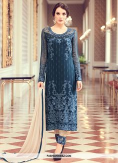 Check out new arrivals of salwar kameez in different styles, designs and fabrics. Shop this appealing embroidered and resham work navy blue designer straight suit for festival, party and wedding. Latest Pakistani Dresses, Pakistani Dress Design, Indian Dresses, Indian Outfits, Designer Wear, Designer Dresses, Indian Clothes Online, Salwar Suits, Salwar Kameez
