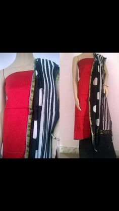 Red pattu top with black and white cotton dupatta