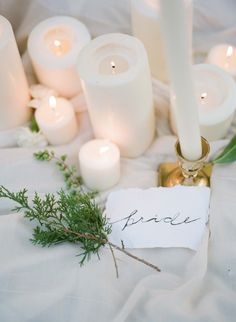 I love the idea of using pillar candles right on the table if we do the floral garland