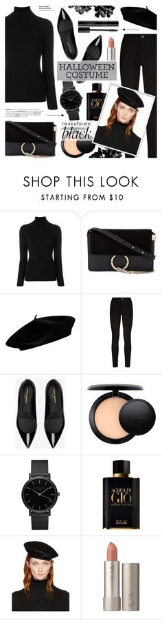 """Clock's Ticking: Last-Minute Halloween Costumes"" by anyasdesigns ❤ liked on Polyvore featuring La Fileria, Chloé, Paige Denim, Yves Saint Laurent, MAC Cosmetics, ROSEFIELD, Giorgio Armani, Yohji Yamamoto and Ilia"